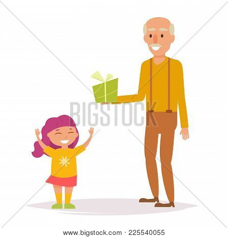 Grandpa Gives Granddaughter A Gift. Vector. Cartoon. Isolated Art On White Background. Flat