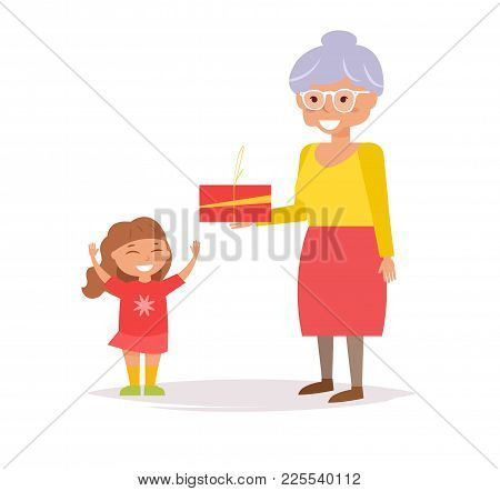 Grandmother Gives Granddaughter Gift. Vector. Cartoon. Isolated Art On White Background. Flat