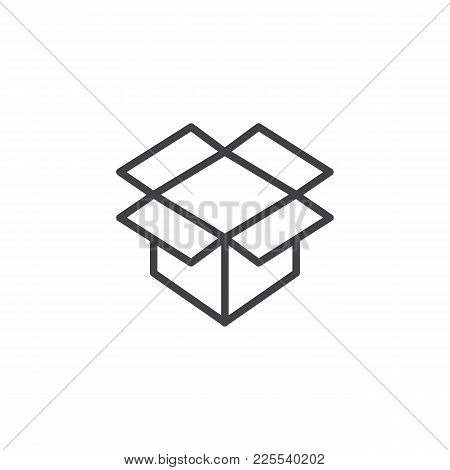 Open Parcel Box Line Icon, Outline Vector Sign, Linear Style Pictogram Isolated On White. Packaging