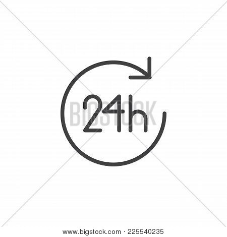 24 Hours Line Icon, Outline Vector Sign, Linear Style Pictogram Isolated On White. Open Twenty Four