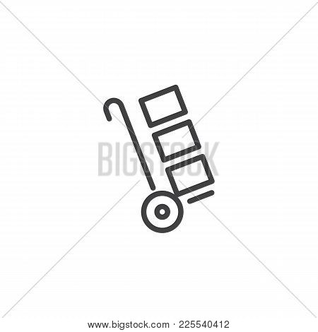Trolley Handcart With Cardboard Boxes Line Icon, Outline Vector Sign, Linear Style Pictogram Isolate