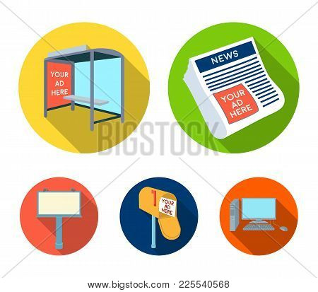 Newspapers, A Bus Stop, A Mail Box, A Billboard.advertising, Set Collection Icons In Flat Style Vect