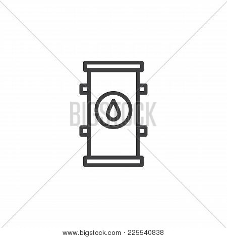 Oil Barrel Line Icon, Outline Vector Sign, Linear Style Pictogram Isolated On White. Symbol, Logo Il