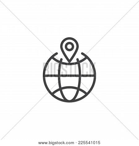 Location Pin On A Globe Line Icon, Outline Vector Sign, Linear Style Pictogram Isolated On White. Gl