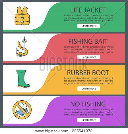 Fishing Web Banner Templates Set. Life Jacket, Bait, Rubber Boot, No Fishing Sign. Website Color Men