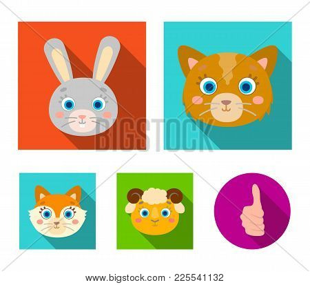 Cat, Rabbit, Fox, Sheep. Animal's Muzzle Set Collection Icons In Flat Style Vector Symbol Stock Illu