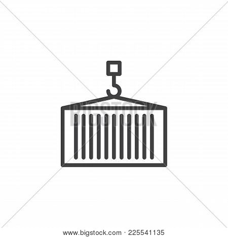 Delivery Container With Crane Line Icon, Outline Vector Sign, Linear Style Pictogram Isolated On Whi
