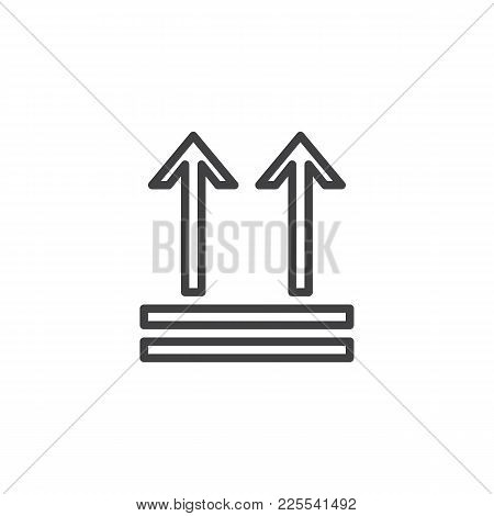 Keep Up, Package Handling Label Line Icon, Outline Vector Sign, Linear Style Pictogram Isolated On W