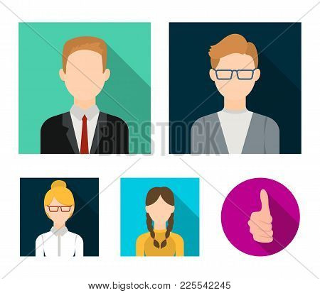 Girl With Pigtails, Businessman, Businesswoman, Boy Wearing Glasses.avatar Set Collection Icons In F