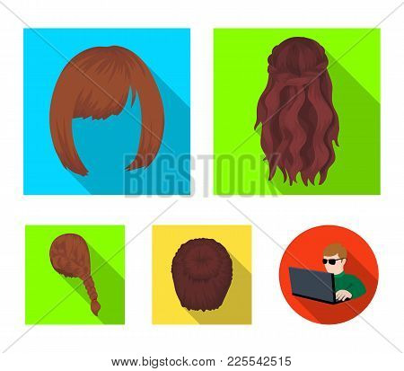 Kara, Red Braid And Other Types Of Hairstyles. Back Hairstyle Set Collection Icons In Flat Style Vec