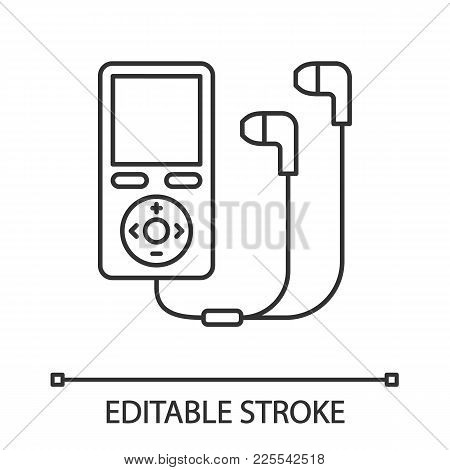 Mp3 Player With Headphones Linear Icon. Thin Line Illustration. Contour Symbol. Vector Isolated Outl