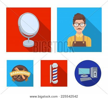 Male Hairdresser, Sign, Mirror And Other Equipment For A Hairdresser.barbershop Set Collection Icons