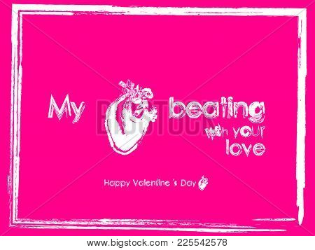 Valentine Pink Card True Heart Beating Love