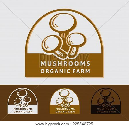Mushroom Champignon Logo. Isolated Mushroom On White Background. Heap Greenhouse Cultivation Fresh M