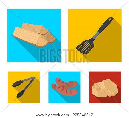 Blade Kitchen, Firewood, Sausages And Other For Barbecue.bbq Set Collection Icons In Flat Style Vect