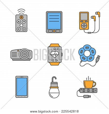 Gadgets Color Icons Set. Remote Controller, Electronic Book, Mp3 Player, Projector, Sport Bracelet,