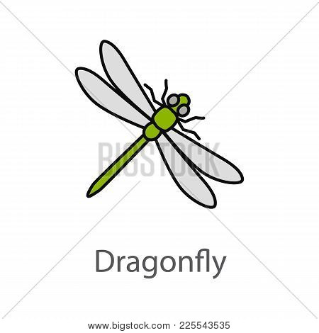 Dragonfly Color Icon. Insect. Isolated Vector Illustration