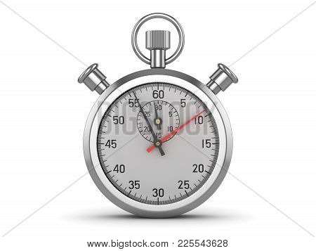 Isolated Classic Stopwatch , This Is A 3d Rendered Computer Generated Image. Isolated On White.