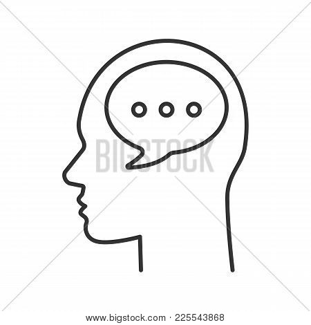 Human Head With Speech Bubble Linear Icon. Thinking. Thin Line Illustration. Internal Dialogue. Comm