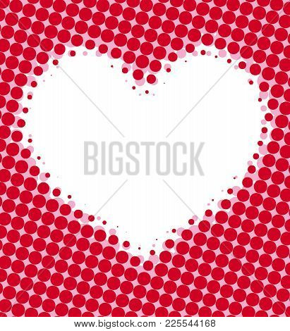 Red Halftone Dots Marketing Vector Background With Heart Blank Space.