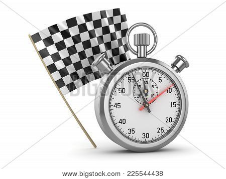 Checkered Flag And Stopwatch , This Is A 3d Rendered Computer Generated Image. Isolated On White.