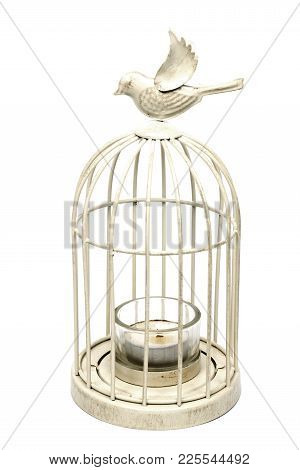 Vintage White Metal Cage With Candle Inside On A White Background, Isolated