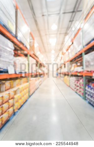 Abstract Blurred Big Boxes Wholesale Store In America