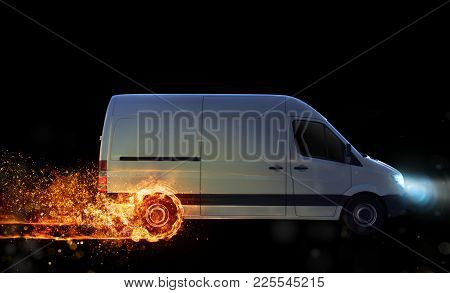 Super Fast Delivery Of Package Service . Van With Wheels On Fire On The Road