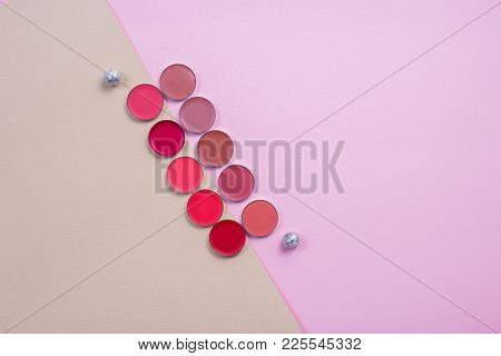 Composition Of Refills Lying On The Background Of Two Colors