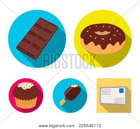 Donut With Chocolate, Zskimo, Shokolpada Tile, Biscuit.chocolate Desserts Set Collection Icons In Fl