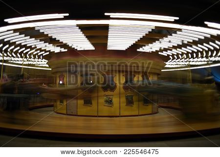 Carousel, Merry Go Round, Amusement Park Moving, In Motion, Blur, Blurred, Long Exposure, At Night,