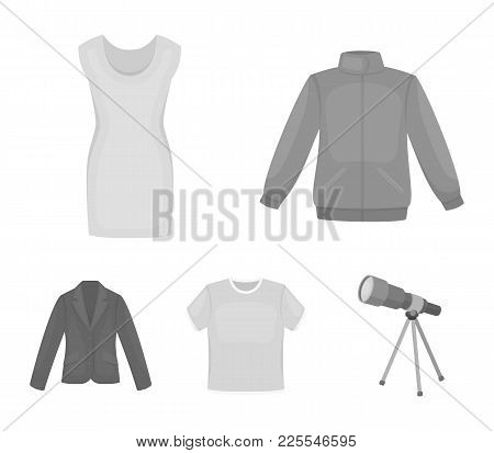 A Mans Jacket, A Tunic, A T-shirt, A Business Suit. Clothes Set Collection Icons In Monochrome Style