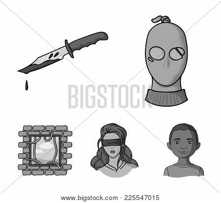 A Thief In A Mask, A Bloody Knife, A Hostage, An Escape From Prison.crime Set Collection Icons In Mo