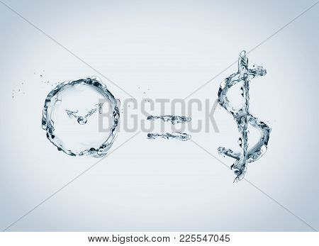 A Business Concept Representing The Saying That Time Is Money. All Elements Made Of Water. Water Pho