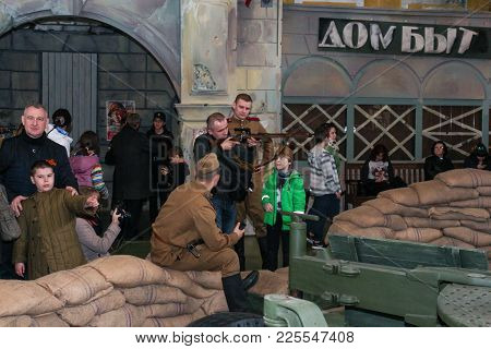 St. Petersburg, Russia - 7 May, People At The Military-patriotic Exhibition, 7 May, 2017. Visitor In