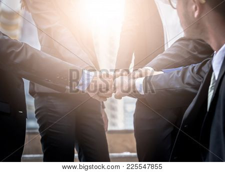 Business People Group Of Hands Making Fist Bump Teamwork Join Hands Support Together Successful Conc