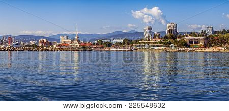 Sochi, Russia - June 5, 2015: Panorama Of The City From The Sea Side.