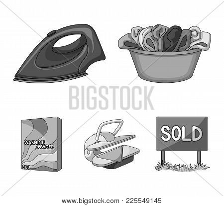 A Bowl With Laundry, Iron, Ironing Press, Washing Powder. Dry Cleaning Set Collection Icons In Monoc