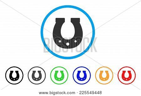 Lucky Horseshoe Icon. Vector Illustration Style Is A Flat Iconic Lucky Horseshoe Black Symbol With G