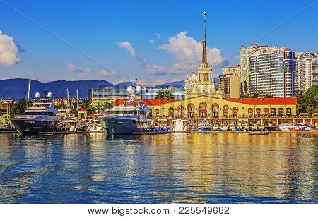 Sochi, Russia - June 5, 2015: Sea Port At The Evening Lights.
