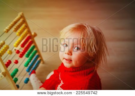 Little Girl Playing With Abacus, Learning Math, Early Education Concept
