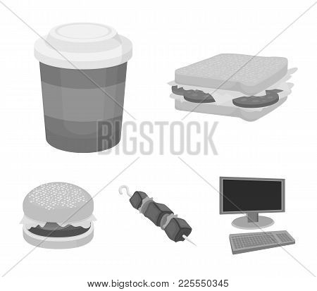 Sandwich, Coffee, Shish Kebab, Burger.fast Food Set Collection Icons In Monochrome Style Vector Symb