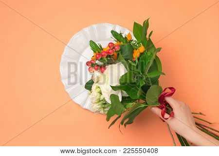 Tools And Accessories Florists Need For Making Up A Bouquet. The Red Florist Workplace. Top View