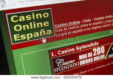 Cleckheaton, West Yorkshire, Uk: Website On Computer Screen Showing Online Spanish Casino Gambling,