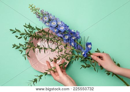 Tools And Accessories Florists Need For Making Up A Bouquet. The Green Florist Workplace. Top View