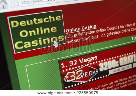 Cleckheaton, West Yorkshire, Uk: Website On Computer Screen Showing Online German Casino Gambling, 3