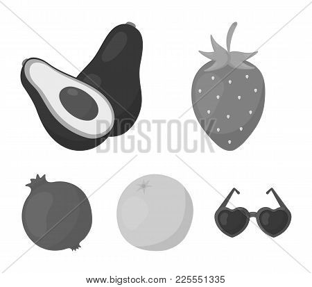 Strawberry, Berry, Avocado, Orange, Pomegranate.fruits Set Collection Icons In Monochrome Style Vect