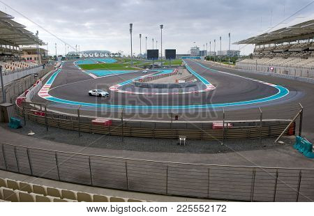 Abu Dhabi, United Arab Emirates - 04 Jan, 2018: Corner Number 7 On The Yasmina Circuit As Seen From