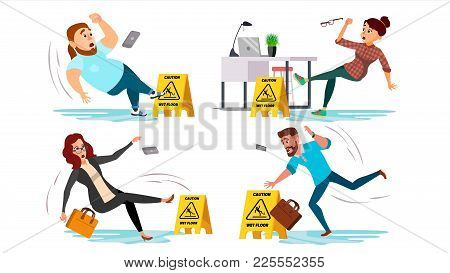 Caution Wet Floor Sign Vector. People Slips On Wet Floor. Situation In Office. Danger Sign. Clean We