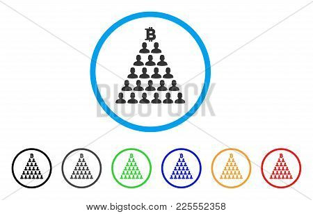 Bitcoin Ponzi Pyramid Icon. Vector Illustration Style Is A Flat Iconic Bitcoin Ponzi Pyramid Black S